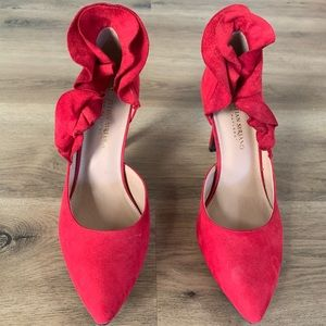 🔥Christian Siriano Red Ruffled Pumps size 9🔥
